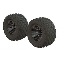 Arrma Granite MT Tire Set Glued Blk Chrm (2)