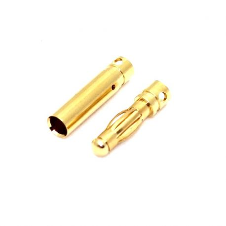 2mm Gold Bullet Connectors Pair With Heat Shrink